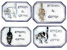 Attenti al Gatto targa in ceramica personalizzata con caricatura nome del gatto