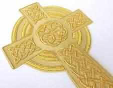 """Hand-Embroidered Bullion Applique Celtic Cross. 8"""" Vestment Applique"""