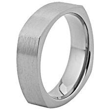 6mm Titanium Band Dome Comfort Fit Square Shape Brush Ring Comfort Fit