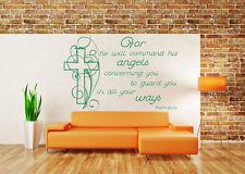 Salmo 91:11, Wall Art Adesivo, Bibbia Citazione, Decalcomania, ANGELI, CASA, Arredamento Chiesa