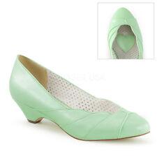 Scarpe decoltè decollete vintage tacco basso Verde retro sposa Pleaser Lulu-05