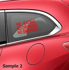 3x NO SMOKING EATING DRINKING TAXI CAB CAR SIGN WINDOW VINYL STICKERS DIY vBN179