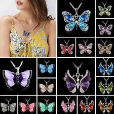 Hot Women Fashion Jewelry Enamel Butterfly Crystal Pendant Necklace Silver Chain