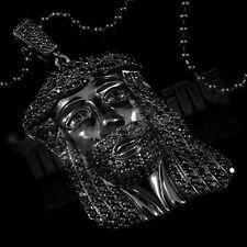 18K Black Gold Plated JESUS PIECE Pendant Simulated Diamond Hip Hop Necklace