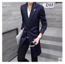 Men Long Korean Style Trench Coat Jacket Lapel Collar Windcoat Slim Fit Size