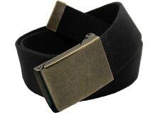 Men's Antique Gold Brass Flip Top Military Belt Buckle with Canvas Web Belt