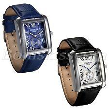 Men's Casual Retro Roman Numberals Square Dial Leather Date Quartz Wrist Watch