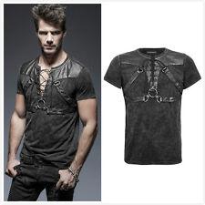 Punk Rave T-424 Men's Gothic Steampunk Rock Metal Open Collar Black Top Shirt