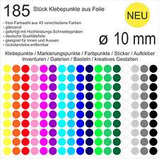 185 Stück Klebepunkte aus Folie glänzend rund 10mm Aufkleber Sticker Inventur