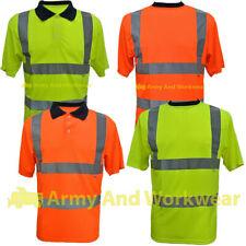 EN471 Hi Viz sicurezza T-Shirt Da Uomo Doppio Nastro Riflettente Manica Corta Traspirante