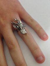 A9 Roe Deer English Pewter Ladies Ring, Adjustable Handmade in Sheffield
