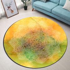 Yellow Green Mandala Flower Carpet Living Room Floor Non-slip Round Mat Area Rug