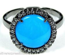 American Sleeping Beauty Turquoise 925 Sterling Silver Black Rhodium Ring sz 6-9