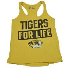 NCAA Missouri Tigers For Life Womens Ladies Racerback Tank Top Shirt Yellow