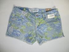 Womens AEROPOSTALE Faded Floral Medium Wash Denim Shorty Shorts NWT #0416