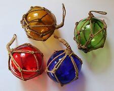 Maritime Deko Fischerkugel aus Glas und Tau aus Sisal in 4 Farben und 6 Größen