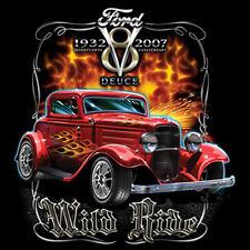 Ford 1932 Deuce Wild Ride Hot Rat Rod American Car T-Shirt Tee