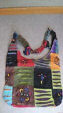 Nepal  100% Cotton shoulder bag Colorful Tantra Design Lined Earthtones