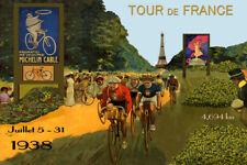 1938 Bicycle Tour de France Bike Cycle Eiffel Tower Vintage Poster Repro FREE SH