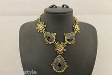 Damas Mujeres Oro Antiguo Hermoso Vintage Retro Collar Colgante de piedra de la gema