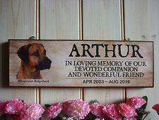RHODESIAN RIDGEBACK MEMORIAL PLAQUE PET SIGN DOG SIGN RIDGEBACK IN MEMORY PLAQUE