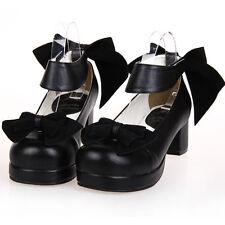 Gothic Goth Lolita Bow Bogen Vintage Retro Damen Schuhe Shoes Pumps Cosplay Neu
