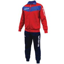 GIVOVA VISA TRAINING Completo Tuta Da Ginnastica Uomo Top Bottom Jogging Rosso Blu S M L XL