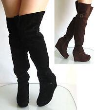 New Womens Wedge Heel Platform Tigh High Boot Buckle Dec Suede Black Brown 5-10