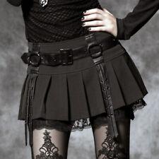 Minirock Falten spitze röck gothic lolita burleske kawaï gürtel Punkrave Schwarz