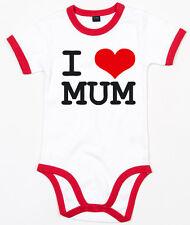 I LOVE MUM Ringer Baby Body weiß/rot