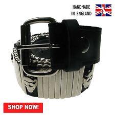 38mm Black Skull W/Bars Removable Buckle Press Stud Belt Handmade In England