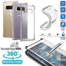 Air Cushion Bumper TPU Clear Case 2.5D Hard Screen Glass Samsung Note 8 S8 S9