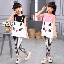 2pcs Kids Baby Girls Summer Fashion Korean Sleeveless Tops+Striped Pants Clothes