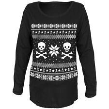 Skull & Crossbones Ugly Christmas Sweater Womens Maternity Long Sleeve T-Shirt