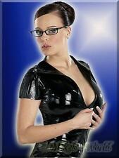 S-Knappes Latex Shirt / Top mit Zip edles Dessous elegante Reizwäsche schwarz