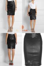 Attractive Genuine Lambskin Leather Pencil Skirt High Waist Paneled Above Knee W