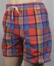 Ralph Lauren Orange Rust Plaid Swim Shorts Trunks Blue Pony NWT