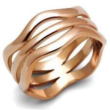 Rose Gold Geometric Ring Multi-band Open Pattern Thumb Size 5-10