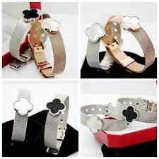 18KGP Silver Gold Rose Stainless Steel Clover Belt Buckle Bangle Bracelets