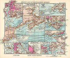 1944 SMALL GERMAN MERCANTILE MARINE MAP ~  PORTS & HARBOURS THE ATLANTIC OCEAN