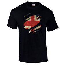 Torn British UK Flag Union Jack Inghilterra Britannia patriottico orgoglio T-shirt S-5XL