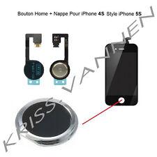 Bouton Home Couleur Noir Avec Contour Argenté Pour iPhone 4S + Nappe Home