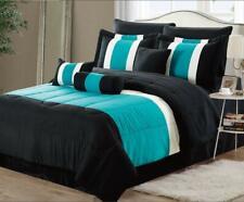 11-Pc Oversized Teal & Black Comforter Set Bedding with SHEET Set Bed In a Bag