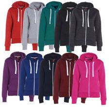 Ladies Plain Zip Up Hooded Hoodie Women Basic Top Hoody Sweatshirt Jacket Coat