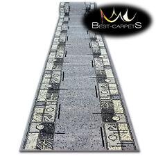 Moderne Tapis couloir entrée + BASE Cadre gris Escaliers 60-150cm Extra Long