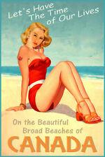 Canada Beach Beauty Pinup Travel Poster Art Print 296