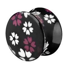Tunnel Ohr Piercing PLUG plástico negro con Verano Flores Double flared