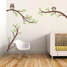 Birch Tree Owls Wall Sticker Inspirational Nursery Bedroom Removable Vinyl Decor