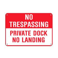 No Trespassing Private Dock No Landing Park Signs Aluminum METAL Sign