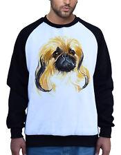 Men's Watercolor Pekingese Dog Head White Raglan Sweatshirt Puppy Animal B864